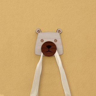 Bear Q - Wood self-adhesive hooks - Mural / storage