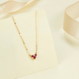 【PurpleMay Jewellery】18k Yellow Gold Heart Shape Ruby Pendant Necklace P018