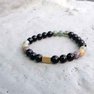 Natural Stone Bracelet - Indian Triangle (Agate / Brass / Accessories / Dress)