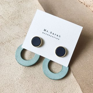 Leather Earrings_Auricular Needle_ Round Frame 6##10_Dark Blue with Mint Green