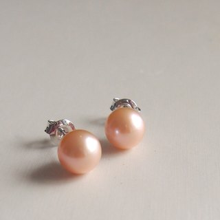 Classic Natural Peach Color Freshwater Pearl 925 sterling silver earrings | Able to change into clip on