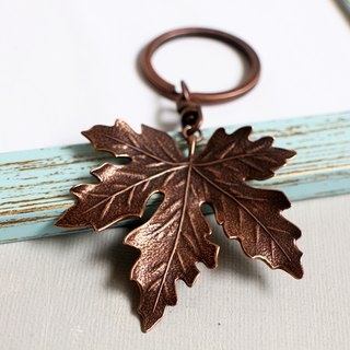 Ancient copper Maple Leaf key ring