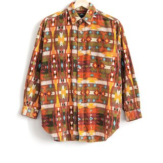 Vintage Indian Totem Corduroy Neutral Shirt