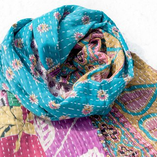 Hand-stitched velvet stitching scarves / embroidered scarves / embroidered scarves / hand-stitched sari scarves - romantic forest