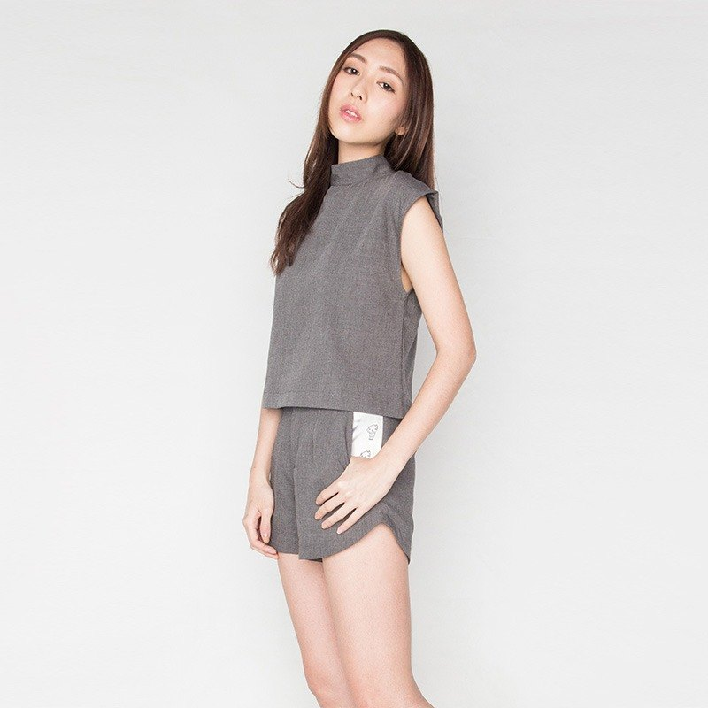 GREY COTTON SHORT TURTLENECK WORK LCC TOP