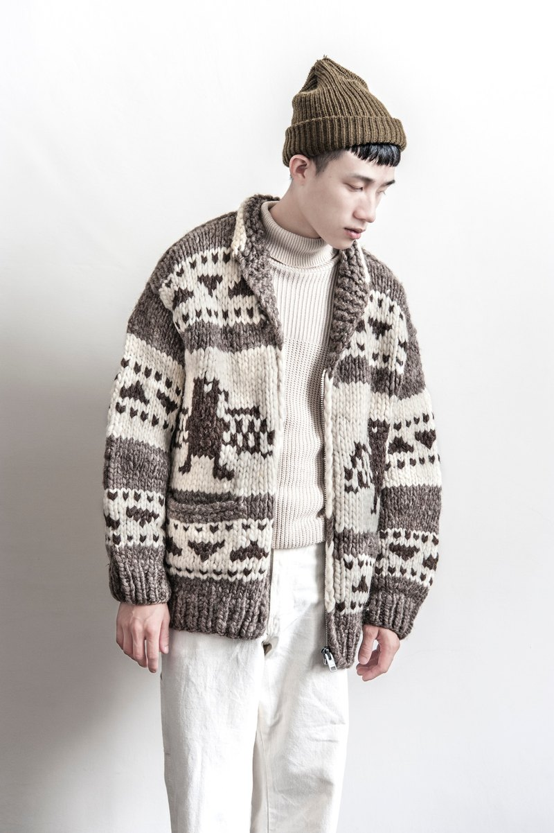 2f32077c2d8 Vintage Cowichan HAND MADE Thunderbird totem design hand-woven sweater coat  thick Canadian Jin Dynasty - Designer Lovelorn room