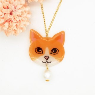 Meow handmade cat and cotton pearl necklace - yellow and white cat