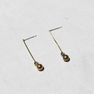 Minimal Brass Ball Dangle Earrings - Sterling Silver Posts