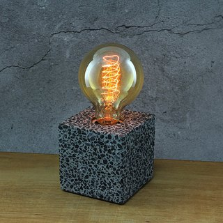 Cement Products-Cement Lamp Holder-Industrial Wind Handmade--With Edison Light Bulb-Black Diamond Type-9x9x9CM