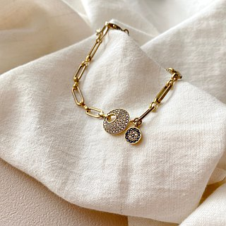 Journey-zircon brass bracelet
