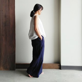 Linen single fold wide pants linen dark blue