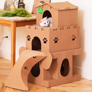 喵屋【喵's Moving Castle】Ultra-Deluxe~Three-storey Cat House Combination Super Meet Cat House Cat Grabs Cat Jumping Stage Combination Toy