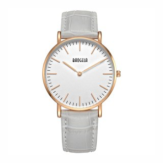 BAOGELA - MARINE Rose Gold White Dial / Grey Leather Watch