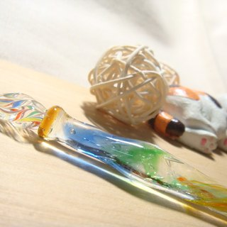 Yuzulin handmade glass - Psychedelic Forest Series - 炎澈 - Prism Pen - Dipstick