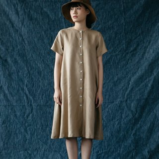 A-line dress with Shell Button in Caramel