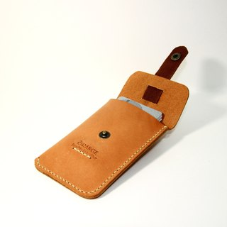 Small orange peel tanned leather business card holder / card holder / card holder pull design card automatically