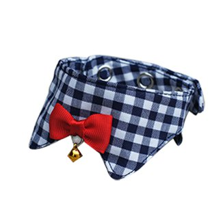 Pet cat collar / cat special baby buckle blue white plaid