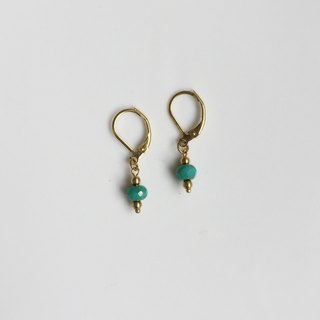 Small blue green brass natural stone modeling earrings