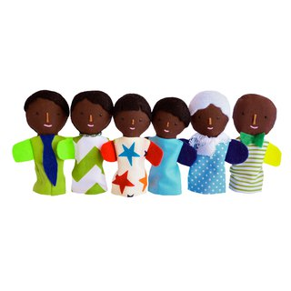 Families of finger puppets / Dark skin color /  6 dolls / 布娃娃