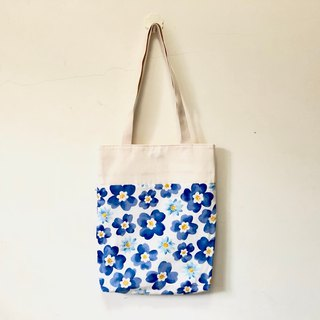 Painted blue flower blue wind shoulder bag / tote bag