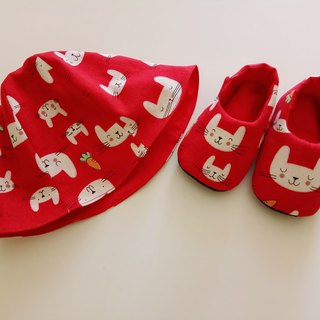 <Red> Rabbit with carrot birthday gift birthday gift Baby shoes + baby hat