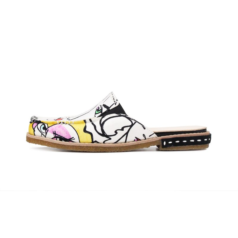 City Walker M1161 White Graffiti slippers