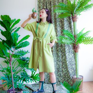 Green cotton and linen ribbon coat