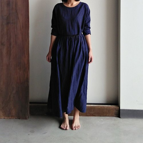 Feliz & Recap dress NO.3 linen dark blue