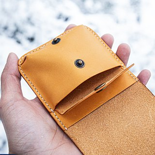 MISTER hand made leather hand made leather material bag small square bag / change card package lettering color selection