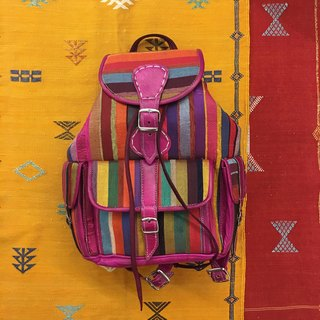 Moroccan handmade pink cactus fabric lambskin backpack national wind accessories