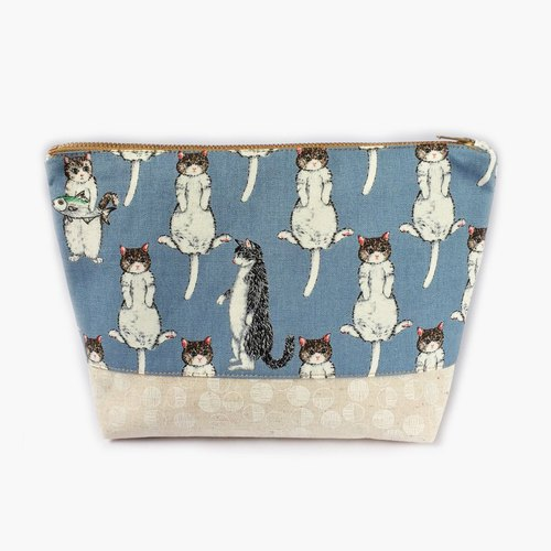 Cute Cat Large Zipper Pouch, Canvas Makeup Bag Cosmetic Purse, Travel Gift Women