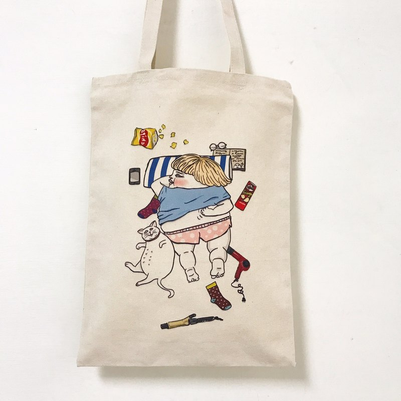 Lazy life canvas bag