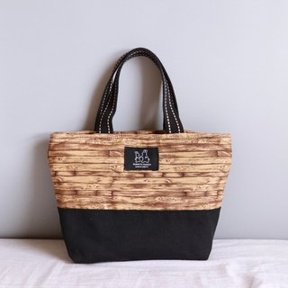 Wood grain printed lightweight handbag tote