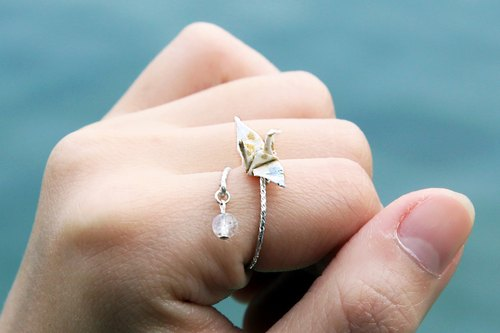 Mini cranes Crystal Ring (Moonlight) - Valentine's Day gift
