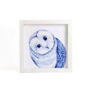 """Visit"" blue copy painting series - Owl (excluding frame)"