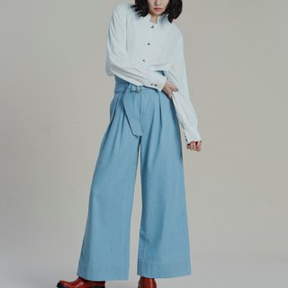 Shan Yong High Waist Denim Wide Pants