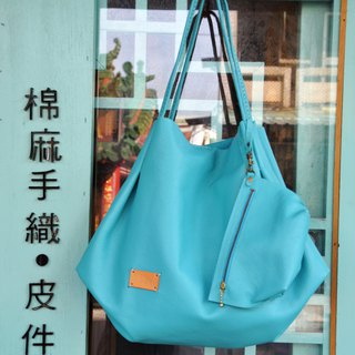 Melody scratched bud shoulder bag - Tiffany blue lychee pattern soft leather
