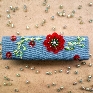 Ree denim sequin flower hairpin HA002