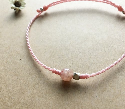 Strawberry crystal natural stone bracelet Brazil wax Japan wax wire braided fine bracelet