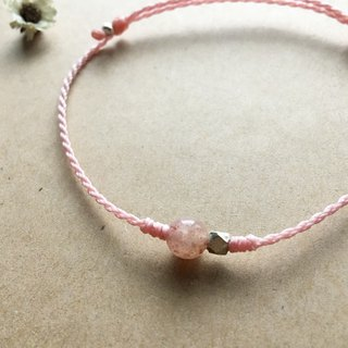 Strawberry Crystal Natural Stone Sterling Silver Bracelet Brazilian Wax Line Japanese Wax Line Braided Fine Bracelet