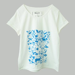 White blue water printed cotton casual short-sleeved T-shirt