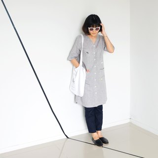 Vee Pocket Dress - Grey Stone