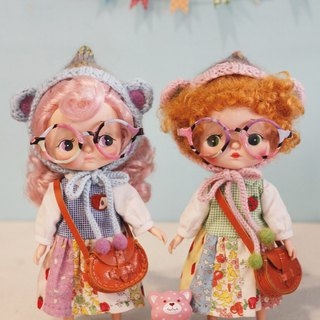 Baby with lively colored glasses Holala, sisters, cloth, monchhichi can wear