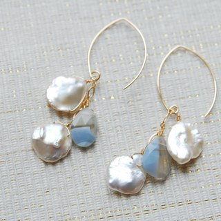 Petals Keshi Pearl and Stripe Opal Earrings 14 kgf