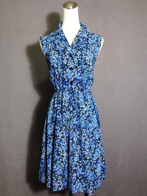 Ping-pong vintage [vintage dress / blue flowers sleeveless vintage dress] abroad back VINTAGE