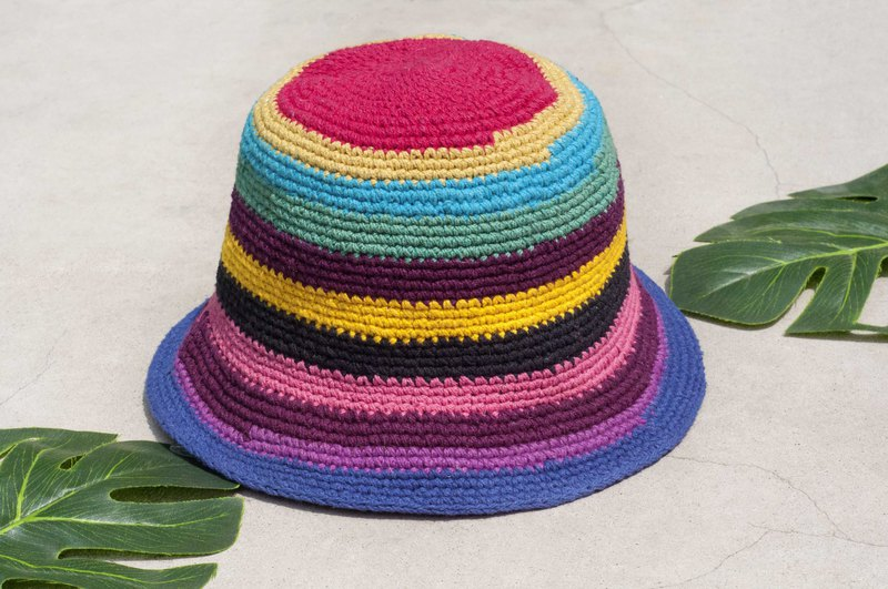 Crocheted cotton hat fisherman hat visor patch cap cotton and linen cap hand-knit hat - rainbow ice cream