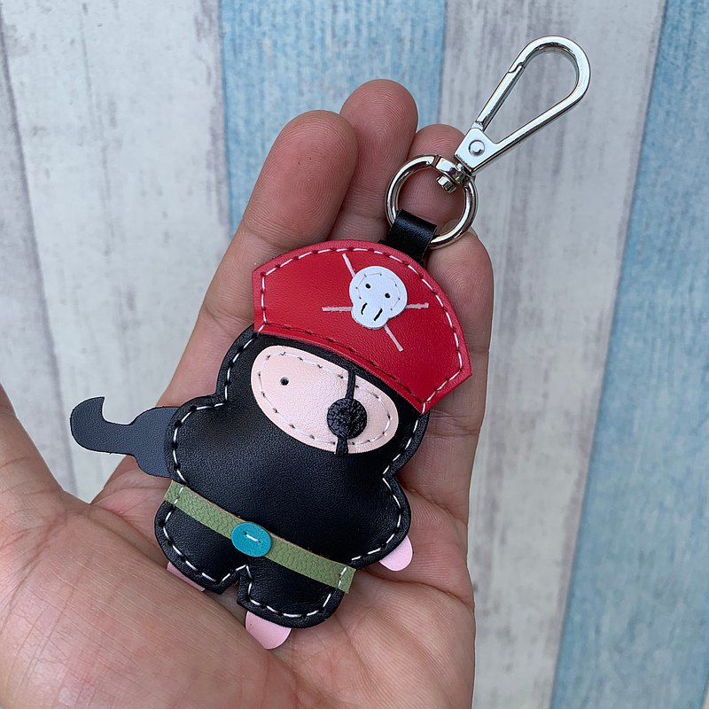 Healing small things black cute pirate hand-stitched leather keychain small size