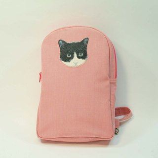 Embroidery shoulder bag backpack 05 - black and white cat