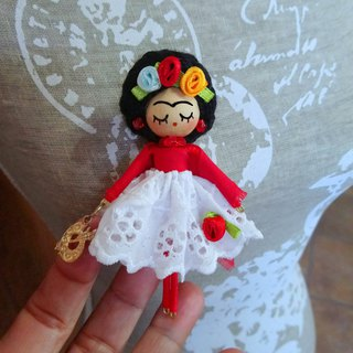Frida Kahlo Brooch doll