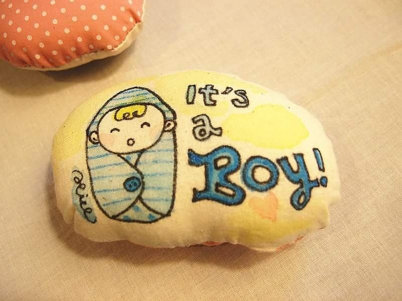 Hand-painted meatballs -- It's a Boy!